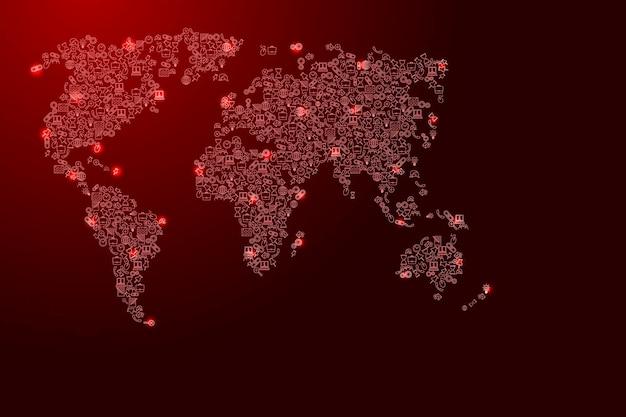 Weltkarte aus roten und leuchtenden sternensymbolen mustersatz von seo-analysekonzept oder entwicklung, geschäft. vektor-illustration.