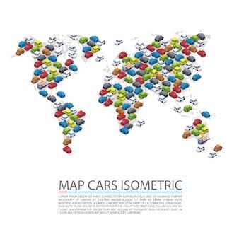 Weltkarte autos isometrisch, objekt auf weißem hintergrund, vektorillustration
