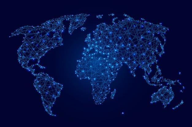 Weltkarte der blauen leuchtenden polygone, der punkte und der sterne