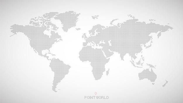 Weltkarte der schwarzen punkte auf grau