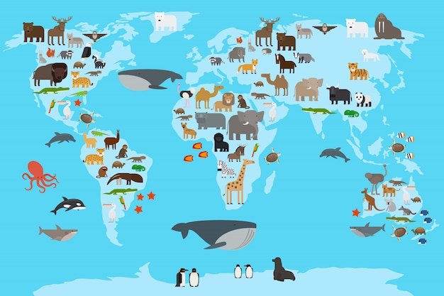 Weltkarte der tiere