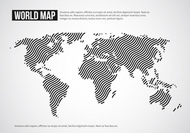Weltkarte der wellenlinien. infographischer hintergrund der abstrakten kugelkontinenttopographie
