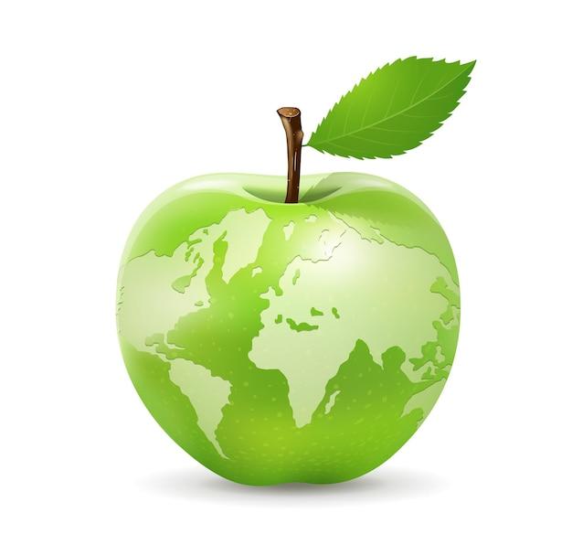 Weltkarte-design des grünen apfels