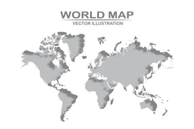 Weltkarte detailliertes design der weißen farbe aus papier geschnitten. vektorillustration