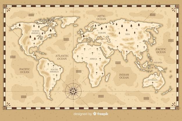 Weltkarte, die in weinleseart zeichnet