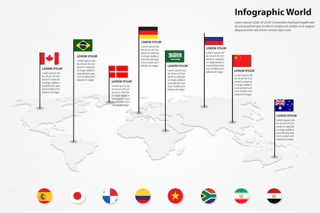 Weltkarte element infografik