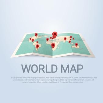 Weltkarte-erde mit stift-reise-konzept