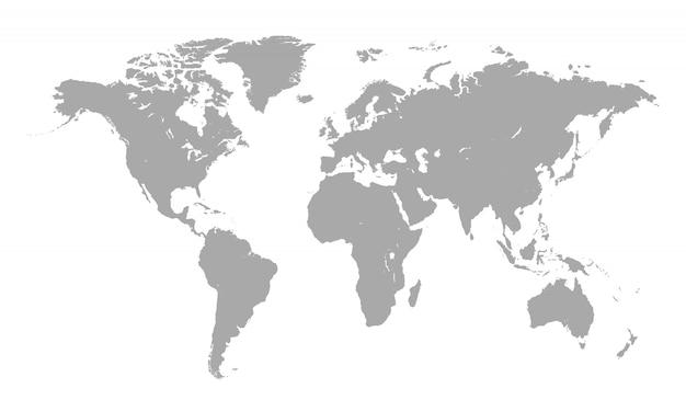 Weltkarte getrennt auf weiß
