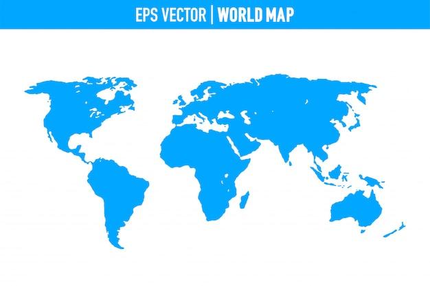 Weltkarte getrennt auf weißem hintergrund. flache erde, graue kartenvorlage für website.