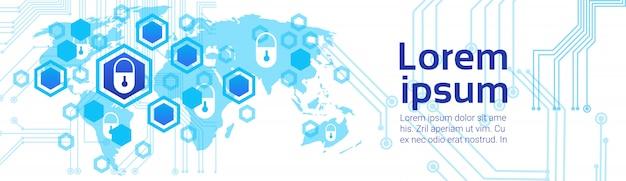 Weltkarte-hintergrund-zugangstechnologie-konzept der geschlossenen verriegelung des datenschutzes und der sicherheits-horizontalen fahne