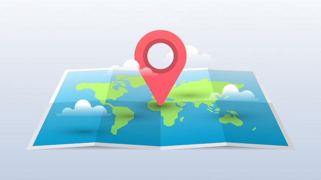 Weltkarte-illustration mit pin und wolken