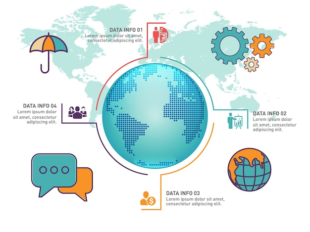 Weltkarte infografik