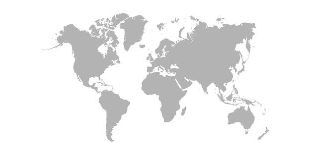 Weltkarte isoliert auf weiß