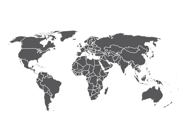 Weltkarte isoliert auf weißem hintergrundvektor