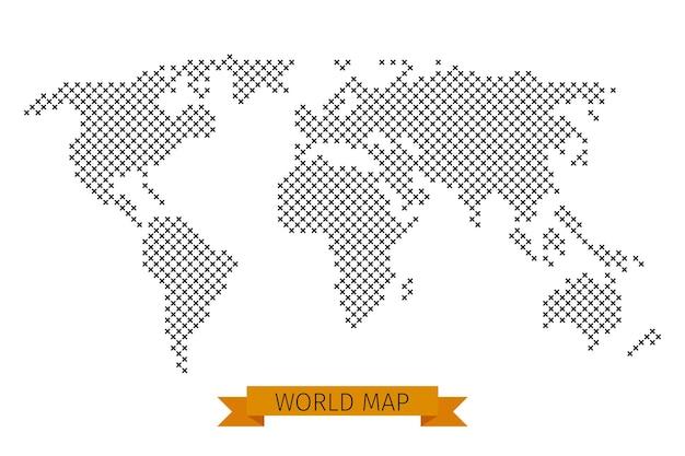 Weltkarte kreuz punkt. globale karte für kartographie, schablonenkarte mit schwarzer kreuzillustration
