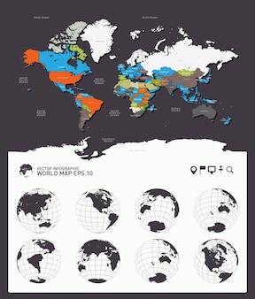 Weltkarte länder erde kugeln vektor