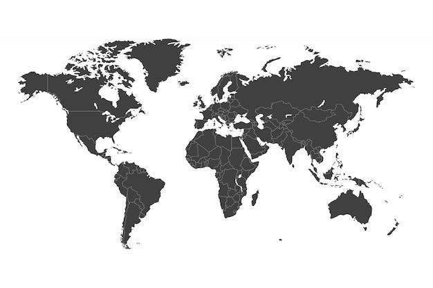 Weltkarte mit ausgewählten ländern in schwarzer vorlage