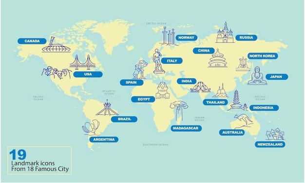 Weltkarte mit berühmten land wahrzeichen symbol