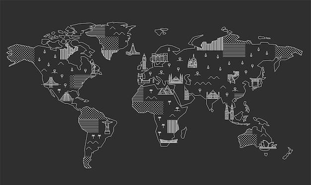 Weltkarte mit berühmten sehenswürdigkeiten. strichzeichnungen