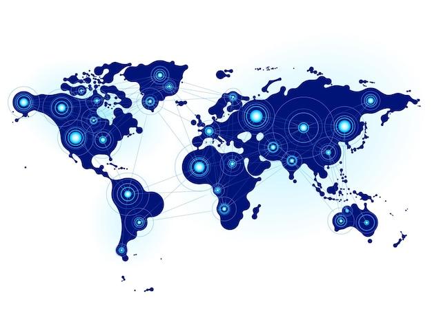 Weltkarte mit durch linien verbundenen knoten