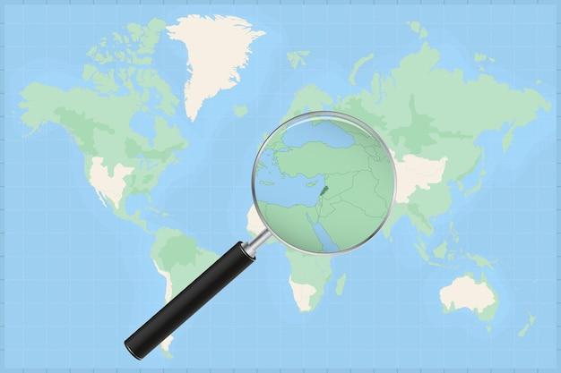 Weltkarte mit einer lupe auf einer karte des libanon.