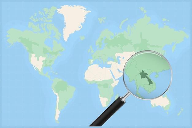 Weltkarte mit einer lupe