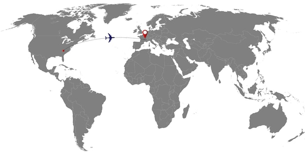 Weltkarte mit flugzeugspur. vektor-illustration