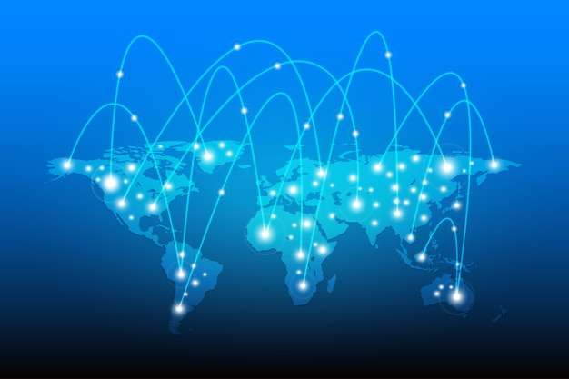 Weltkarte mit globe netzwerkverbindung
