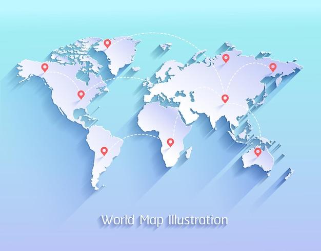 Weltkarte mit markierungen auf allen kontinenten