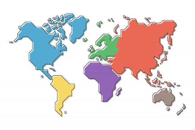 Weltkarte mit mehrfarbenkontinent und moderner einfacher karikaturlinie design