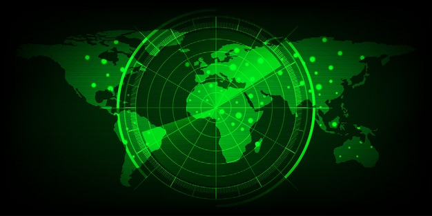 Weltkarte mit radarbildschirm, digitales grünes radar mit zielen und weltkarte als hintergrund und hintergrundbild
