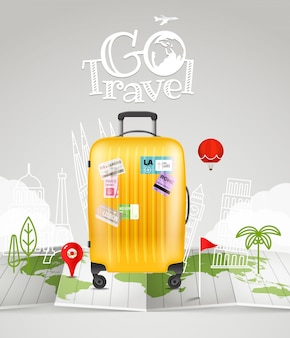 Weltkarte mit tasche und logo. geh reisen