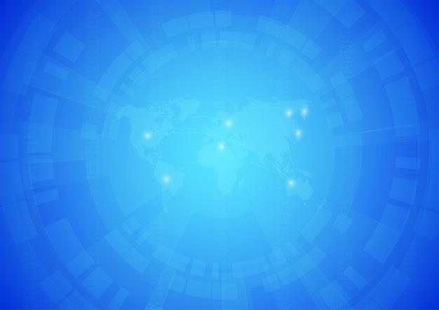 Weltkarte mit technologischem hintergrund.
