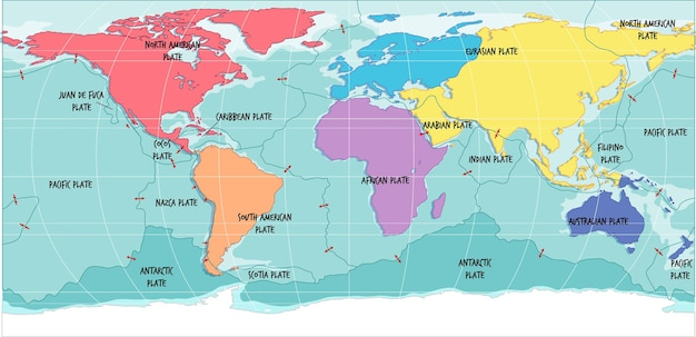 Weltkarte mit tektonischen plattengrenzen
