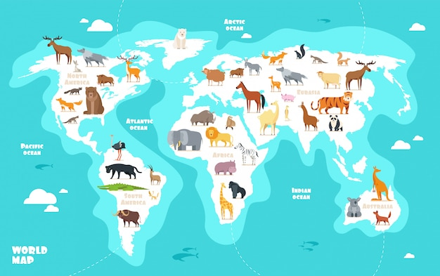 Weltkarte mit tieren. kindergeographie-vektorillustration der erdentdeckung lustige