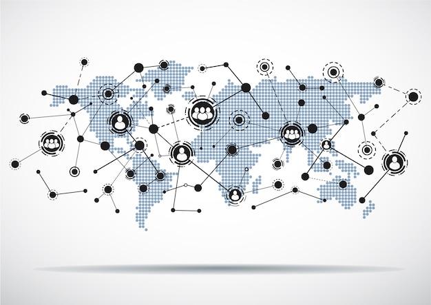 Weltkarte mit verbundenen benutzerikonen.