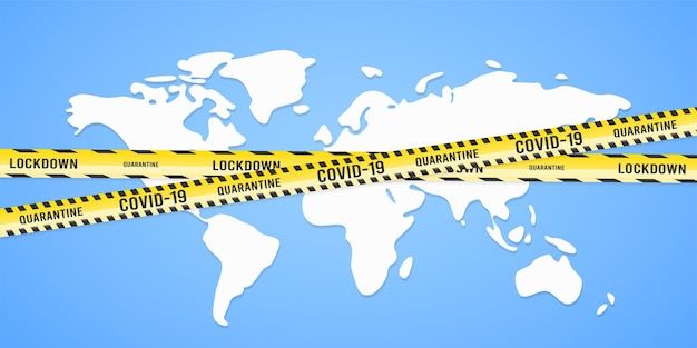 Weltkarte mit warnbändern coronavirus-konzept
