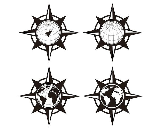 Weltkarte mit windrose, navigationskompass.