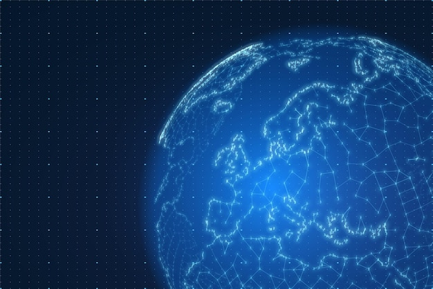 Weltkarte mit zahlen- und linienhintergrund