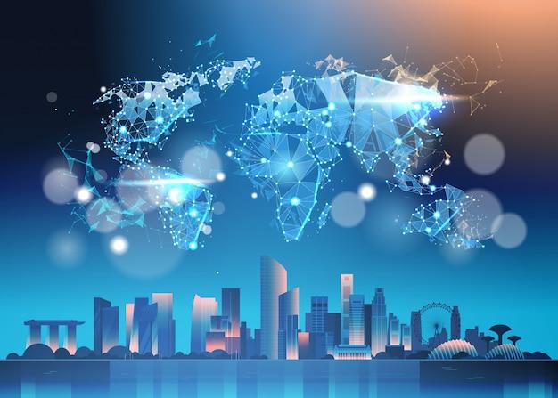 Weltkarte über nacht singapur-illustration mit berühmten marksteinen und wolkenkratzern