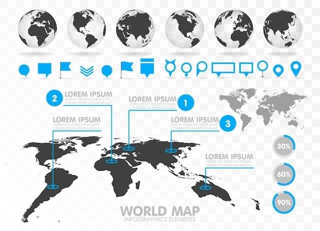 Weltkarte und 3d-globus mit infografik-elementen. designinformationen, geschäftsgrafik und diagramm. vektor-illustration