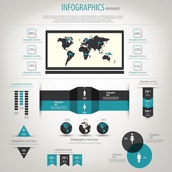Weltkarte und informationsgrafiken