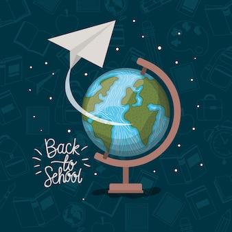 Weltkarte und lieferungen zurück in die schule