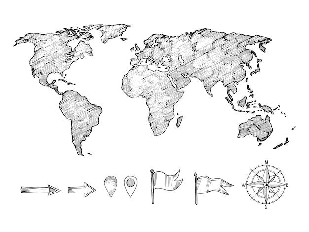 Weltkarte und navigationselemente im skizzierten stil