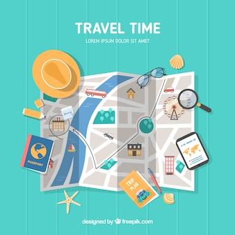 Weltkarte und reiseelemente mit flachem design