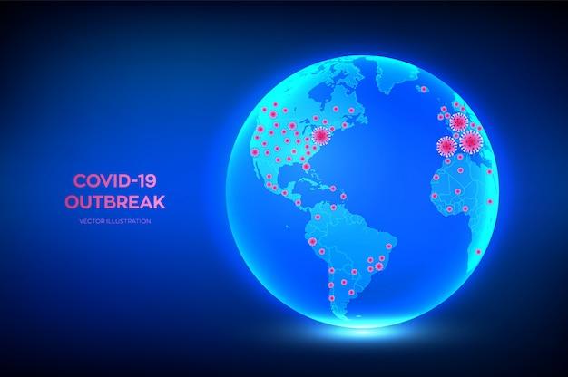Weltkarte von coronavirus 2019-ncov bestätigte fälle. planet erde globus mit symbol des coronavirus covid-19 infizierten ländern.