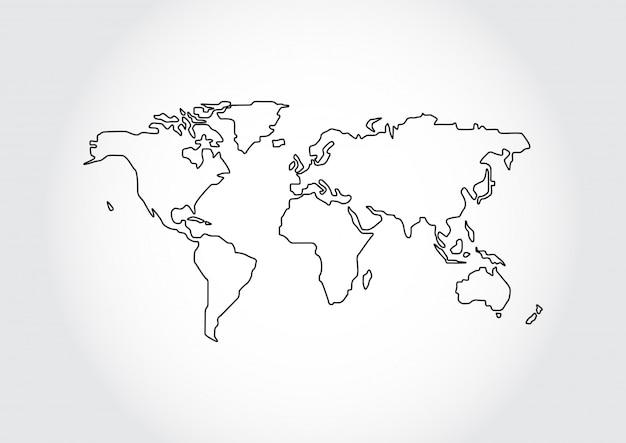 Weltkartenentwurf lokalisiert auf weißem hintergrund