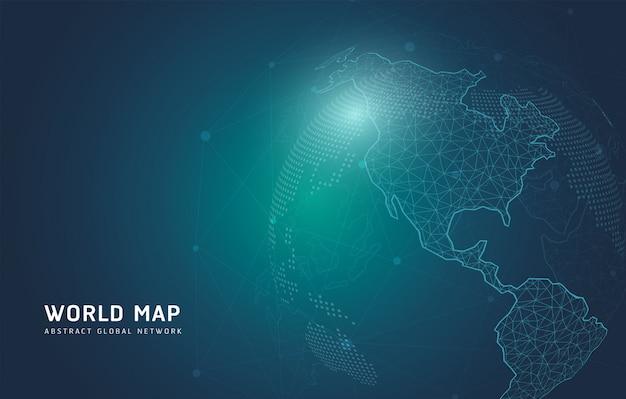 Weltkartenlinie, die die globale technologie darstellt
