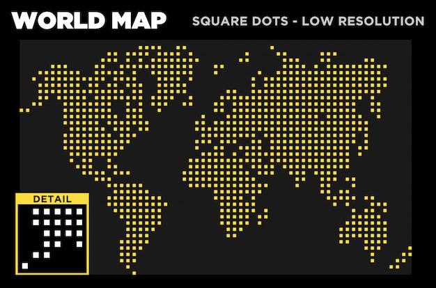 Weltkartenquadrat punktiert niedrige auflösung