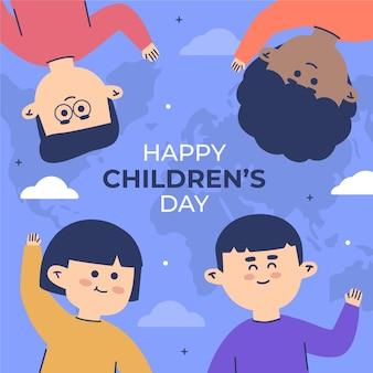 Weltkinder-tagesillustrationsdesign